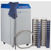 AutoMax LN2 Storage Tank with Autofill Capacity 10,400 vials Includes: (7) Large Stainless Steel Racks; (4) Small Stainless Steel Racks; (91) 81/100 Cell Plastic Boxes; (52) 25 Cell Plastic Boxes; 6' Transfer Hose, CryoGloves