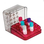 5 x 5 array boxes, ruby red, vial size, ml up to 2.0, 76 x 76 x 53mm