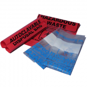 "Autoclave bags, 12.2x26"" (31 x 66cm), red, biohazard, printed, marking area 200"