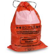 BowTie™ Biohazard bags with drawstring, HDPE, 25 x 35in., with marking area and sterilization indicator. 100 pcs/pk.
