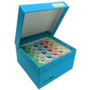 Cardboard freezer box, hinged lid, insert for 25 snap-cap 5mL tubes, 5.25 x 5.25 x 3 inches 5 pcs/pk
