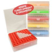 BetterBox™ Storage Box with hinged lid, 81 x 1.5mL/2.0mL microtubes, assorted colors 5 pcs/pk