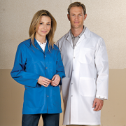 ESD Static Control Lab coat - 98/2Poly / Carbon Blend in 4.0oz fabric with snap closures and Snap Cuffs - White XXXLarge