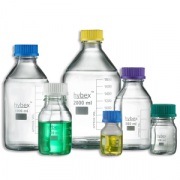 Benchmark hybex™ media storage bottle - 1000mL; GL45 threaded GREEN cap; borosilicate glass; autoclavable including caps and drip rings; marking area; 10/pkg.