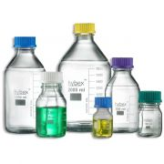 Benchmark hybex™ media storage bottle - 1000mL; GL45 threaded cap (assorted colours); borosilicate glass; autoclavable including caps and drip rings; marking area; 10/pkg.