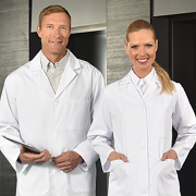 Lab Coat Button Closure with three outside pockets Knit Cuffs – White Medium.