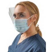 ASTM Level 3 Surgical Mask with Eye Shield, Earloops 500/Case